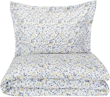 AmazonBasics Microfiber 2-Piece Quilt/Duvet/Comforter Cover Set - Single (66x90-inch), Blue Floral - with pillow cover