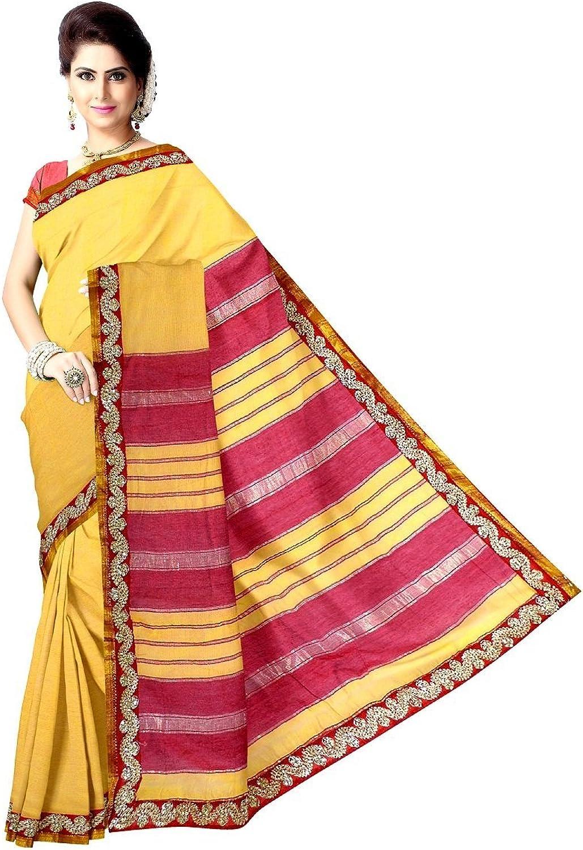GiftPiper Women's Handloom Maheshwari Saree With Lace Border