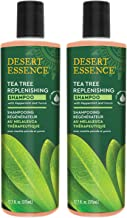 Desert Essence Tea Tree Replenishing Shampoo - 12.7 Fl Oz - Pack of 2 - Therapeutic - Peppermint & Yucca - Antibacterial - Restore & Nurture Hair - Reduce Flaking - All Skin Types