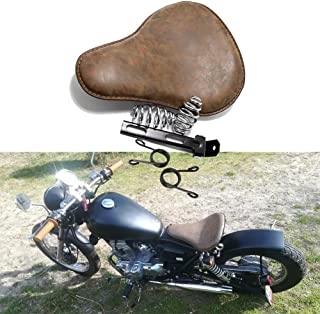 Retro Brown Motorcycle Soft Leather Seat Spring Solo Bracket for Harley Chopper Bobber