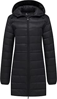 Wantdo Women's Packable Down Coat Ultra Light Weight Hip Length Hooded Jacket