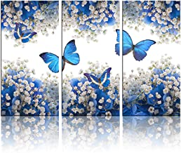 Biuteawal - 3 Panel Canvas Print Blue Butterfly Wall Art Flower Painting on Canvas Contemporary Artwork for Home Living Ro...