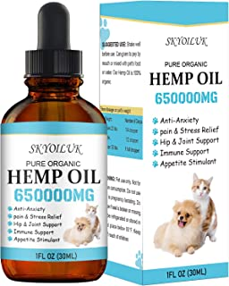 Sponsored Ad - SKYOILUK Hemp Oil for Pets Dogs and Cats - Hemp Oil Drops with Omega 3 6 9 Fatty Acids -Skin Health Relieve...