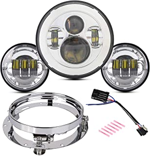 7 Inch Round LED Headlight Bulb kit With 4.5 Inch Fog Lights Passing Lights Mounting Ring For Electra Glide Ultra Classic Limited CVO Road King Fat Boy Street Glide Chrome