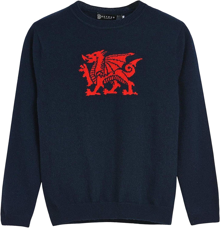 BEYOND FASHION Boys' 100% Cashmere Sweater Crew Neck Dragon Pattern Pullover