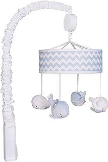 Trend Lab Blue Sky Plush Whale Musical Crib Mobile, White Nautical Baby Mobile, Ocean Friends Nursery Décor