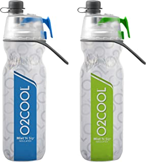 O2COOL Elite ArcticSqueeze Insulated Mist 'N Sip Squeeze Bottle 20 oz, Blue/Green, 2 Packs