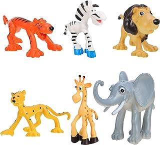 NUOBESTY 6Pcs Safari Animals Figurines Plastic Zoo Jungle Wild Animal Figures with Elephant Giraffe Lion Tiger Early Learn...