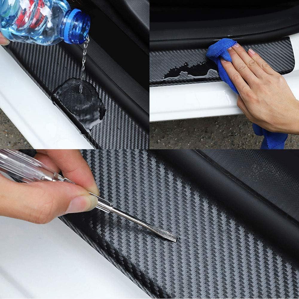 4D decorativa pedal umbral de auto,panel de cubierta de fibra de carbono placa de desgaste 4 piezas de puerta de coche tiras protectoras de pel/ícula para Ford Focus 2 3 1 MK2 MK3 MK1 Fusion
