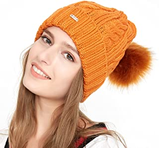 TEFITI Women Winter Beanie Hat Knitted Warm Slouchy Ski Skull Caps with Pom Pom