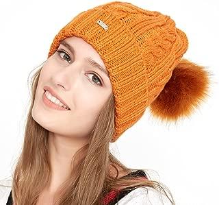 TEFITI Women Winter Beanie Hat Knitted Warm Slouchy Ski Skull Caps with Pom Pom