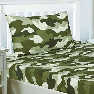 Rapport - Juego de sábana bajera doble ajustable y funda de almohada con estampado militar de camuflaje, sábana bajera doble ajustable de 190 cm x 137 cm y funda de almohada de 50 x 75 cm