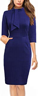 Women's Vintage Chic 50s Tie Neck 3/4 Sleeve Sheath Bodycon Cocktail Party Pencil Dress with Pockets