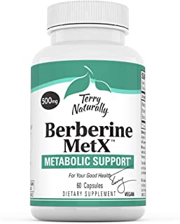 Terry Naturally Berberine - 60 Capsules - Metabolic Support Supplement, Heart, Cholesterol, Triglyceride Balance, Blood Su...