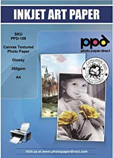 """PPD Inkjet Glossy Canvas Textured Heavyweight Photo Paper A4 (8.27x11.69`` Similar to 8.5x11"""") 64lbs. 260gsm 10.9mil x 20 Sheets (PPD108-20)"""