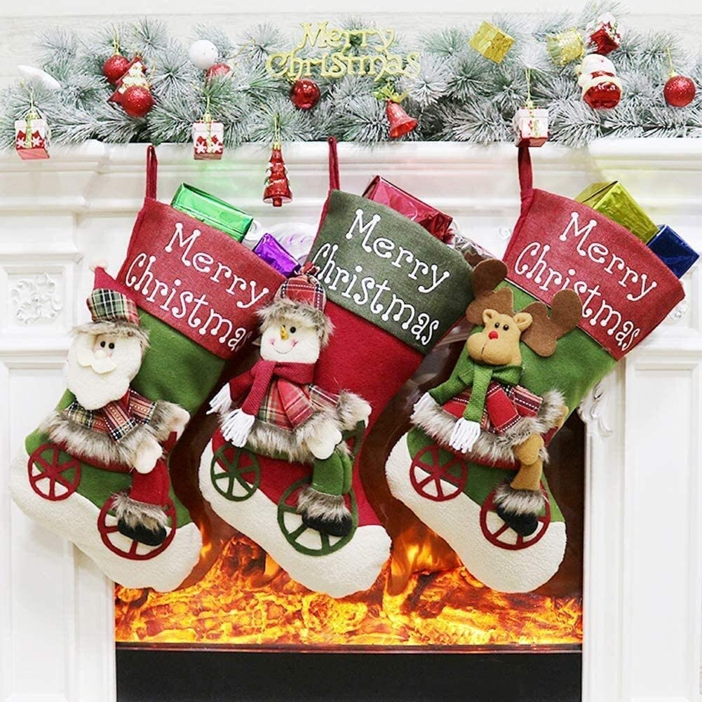 RENFEIYUAN Lovely Christmas Stockings Set Reindeer 3 of Cheap mail National products order specialty store Santa Sn