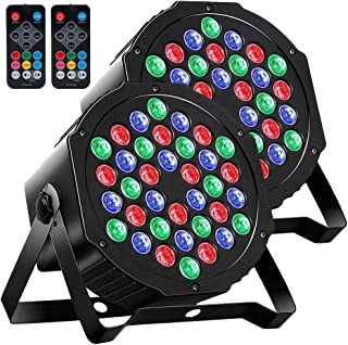 Par Lights DMX, 36 LED DJ Stage light Sound Activated 7 Modes Uplighting with Remote Control DJ Equipment for Church Club Christmas Wedding Party Indoor Event Dance (2 Pack)