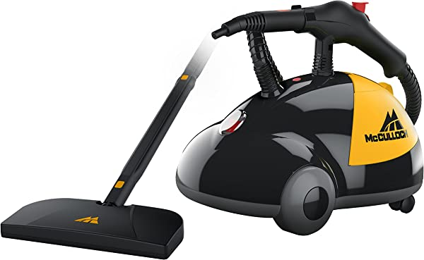 McCulloch MC1275 Heavy Duty Cleaner With 18 Accessories All Natural Chemical Free Pressurized Steam Cleaning For Most Floors Counters Appliances Windows Autos And More Yellow Grey