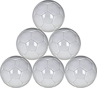 White Mini Soccer Balls Six Pack Size 1 for Practice and Kids - 48 cm Circumference