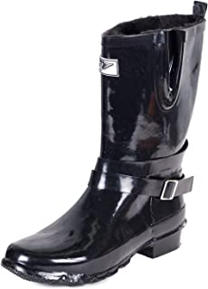 Forever Young Women Mid-Rise Rubber Rain Boots w/Warm Faux Fur Lining