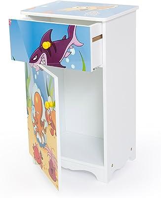 Homestyle4u niños Muebles de Pecho de 1 cajón y 1 Bolsillo en la Solapa mar,