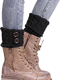 TININNA Calentadores para Mujer, Cálido Invierno Calentadores de Pierna Calcetines para Botas de Punto Polainas para Señoras-Negro