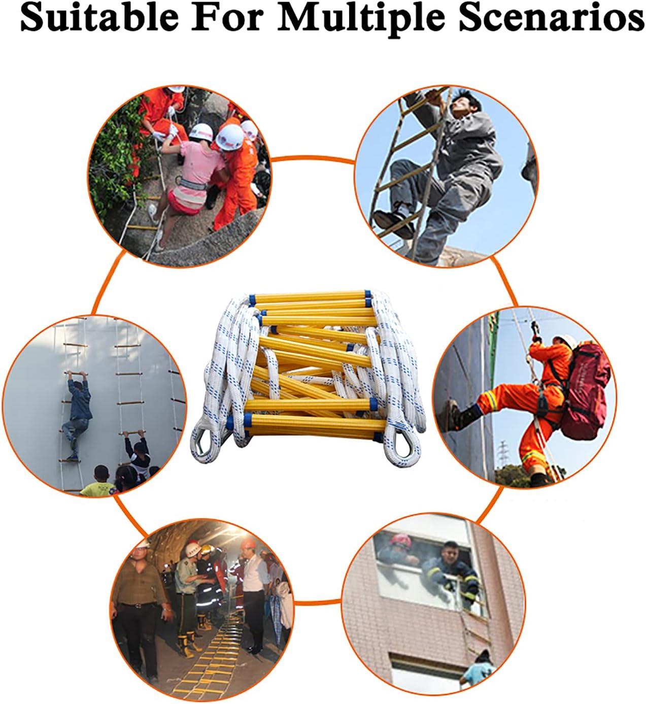 Escape De Incendio De Emergencia Seguridad De Emergencia con Ganchos para Rescate Desplegar R/ápidamente En Incendios Yclty Escalera De Cuerda 3M-50M ,El tama/ño se Puede Personalizar