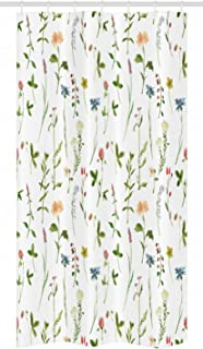 Ambesonne Floral Stall Shower Curtain, Spring Season Themed Watercolors Painting of Herbs Flowers Botanical Garden Artwork, Fabric Bathroom Decor Set with Hooks, 36