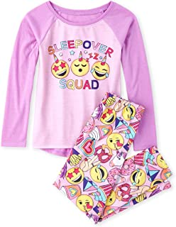 The Children's Place Girls' Big Raglan Top and Pants Pajama Set