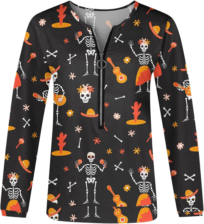 AODONG Halloween Sweatshirts for Women,Womens Funny Long Sleeve T-Shirts Zipper Casual Tunics Sweater Pullover Tops