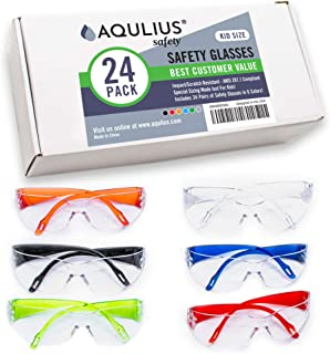 24 Pack of Kids Safety Glasses (24 Protective Goggles in 6 Different Colors) Crystal..