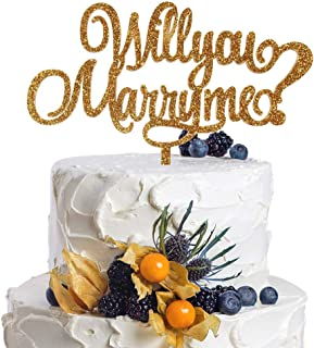 Will You Marry Me Gold Glitter Acrylic Cake Topper Unique Proposal Idea Valentines Engagement Party Decoration.