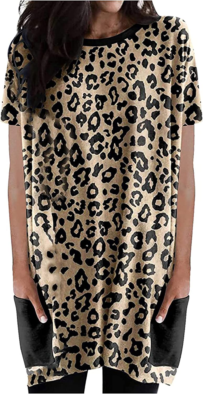 Casual Summer Dress for Women Round Leopard lowest price Short Japan's largest assortment Mi Neck Sleeve