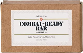 COMBAT READY ORGANIC SOAP by Skincando - 4oz – Organic Soap Coconut Oil – Antioxidant Vitamin E – Brewed Black Tea – Rosemary Essential Oil Organic – Face and Body Soap – Earth Friendly Soap – Used by US Military