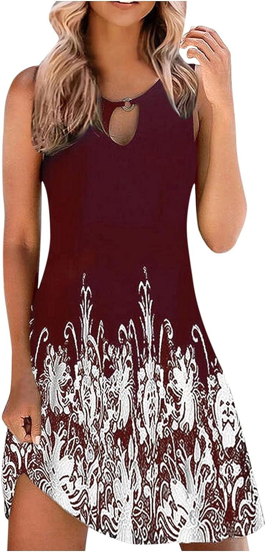 felwors Dresses for Women Summer,Womens Floral Print Loose Sundress Sleeveless Beach Mini Dress Casual Boho Tank Dresses