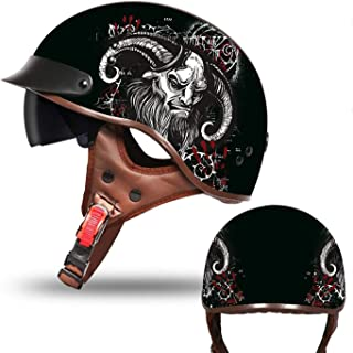 Adult Beanie Motorcycle Half Helmet Retro Adult Helmet Motorcycle Harley Skull Half Helmet DOT Certification Men and Women Domineering Style Bicycle Scooter Travel Street Half Helmet,4,XL