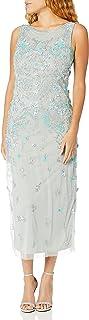 Pisarro Nights Women's Long Dress Featuring Boat Neck and 3D Motif