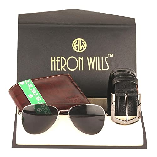 Heron Wills Mens Leather Combo Of Belt Wallet Sunglass MulticolorFree