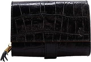 [Felisi フェリージ] クロコダイル型押し エンボスレザー フリンジ付き コロコロ折財布 3500/SA BLACK 003(ブラック)