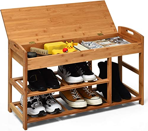 Giantex Shoe Bench Entryway with Storage Bamboo 3-Tier W/Openable Seat and Shelves, Multi-Function Shoe Rack for Hallway, Bathroom, Living Room, Bedroom Shoe Organizer Shelf (Natural)