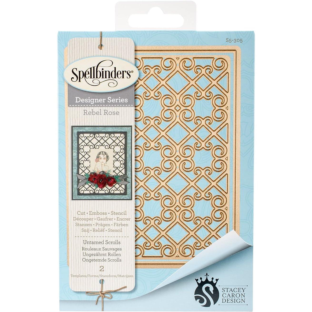Spellbinders Card Creator Untamed Scrolls Rebel Rose Etched/Wafer Thin Dies