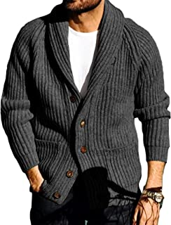 Sponsored Ad - Runcati Mens Shawl Collar Cardigan Sweaters Button Down Open Front Knitwear Cable Knitted Ribbed Jackets Ou...