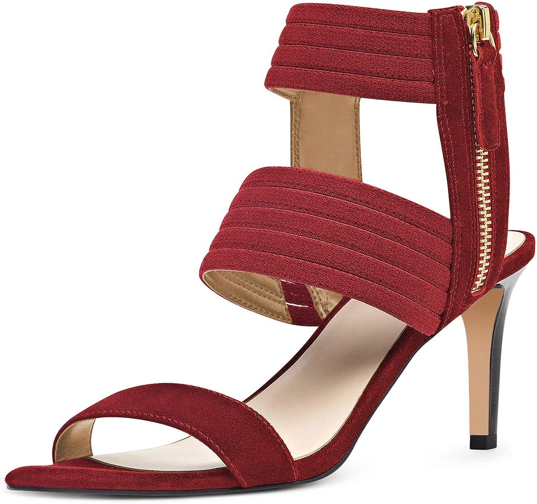 NJ Women Fashion Open Toe High Heel Strappy Sandals Slingback Ankle Strap Formal Party Stiletto Pumps Side Zip
