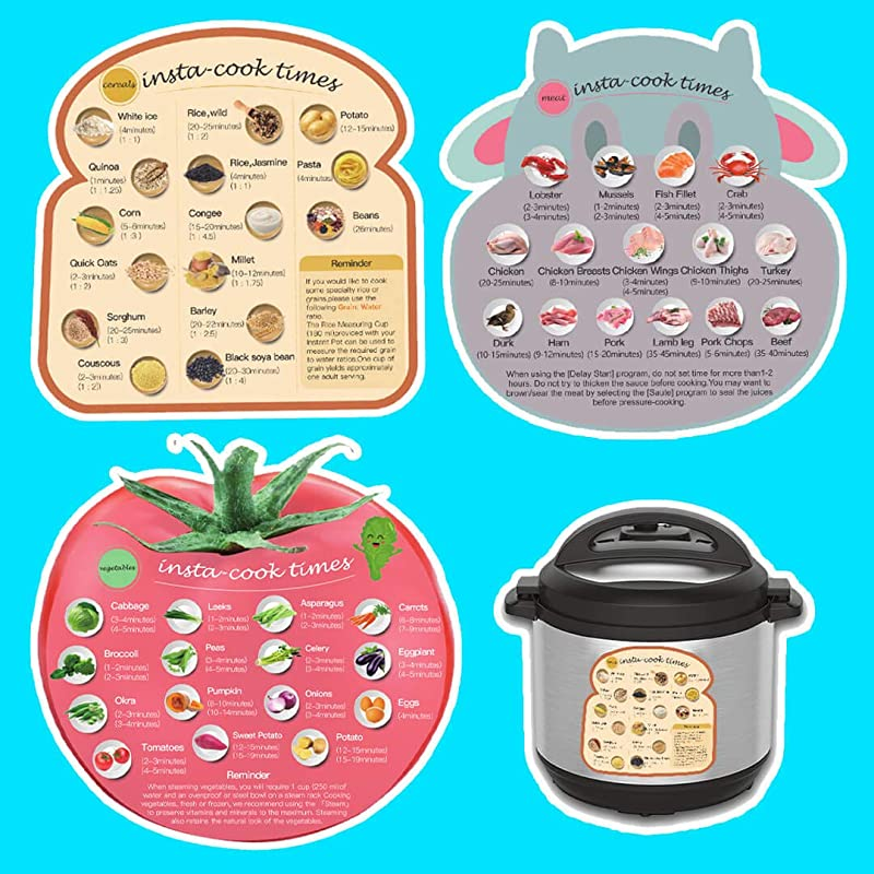 3 Large Size Magnetic Cheat Sheet With Food Shape Images Cooking Time Schedule Compatible With Instant Pot Air Fryer Pressure Coooker Magnet Cooking Times Accessories For 45 Common Functions