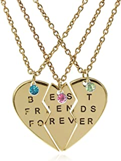 TISDA Best Friends Forever Set of three Necklaces with Birthstone Crystals on Puzzle Heart Pendants (gold)