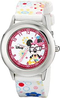 Disney Kids W000364 Minnie Mouse Stainless Steel Time Teacher Printed Strap Watch