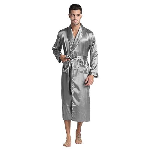 Mens Silk Satin Robe Black Grey Burgundy White Stripe
