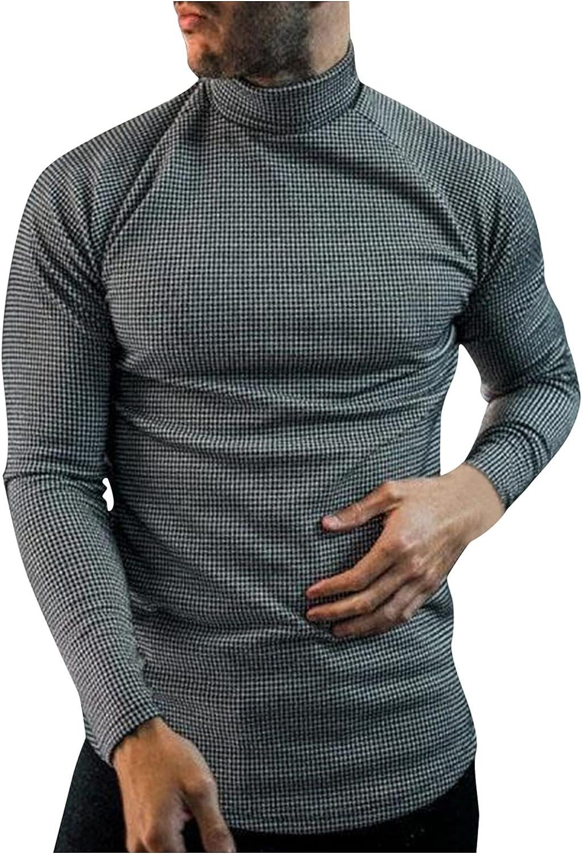 Bummyo Long Sleeve Tee Shirts for Men Trendy Turtleneck Thermal Slim Fit Basic T-Shirts