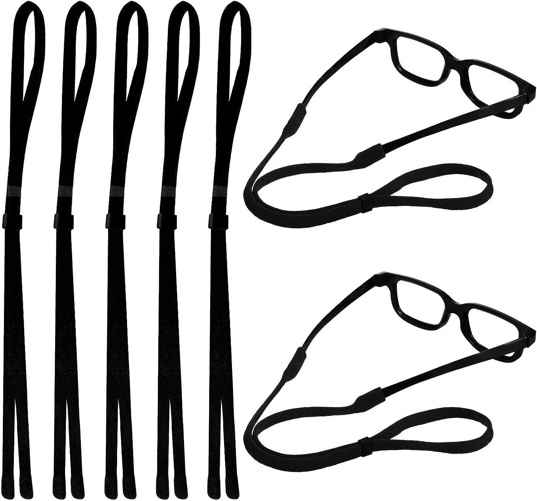 Hongfa Adjustable Eyewear Safety Glasses Eyeglasses Neck Cord String Lanyard Strap,Sunglasses Holder Straps,Set of 5 (Black)
