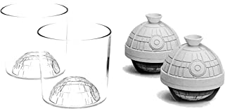Star Wars 4-Piece Death Star Whiskey, Juice, or Cocktail Drink Set - Comes with a set of TWO Limited, Collectible Custom Glasses and TWO Death Star Ice Cube Molds - BPA FREE - DISHWASHER SAFE
